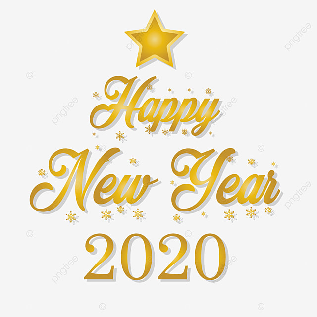 Happy New Year 2020 Font Art Text Effect EPS For Free Download