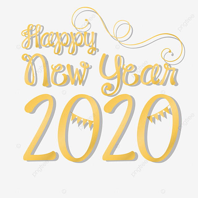 Happy New Year 2020 With Simple Font Text Effect EPS For ...