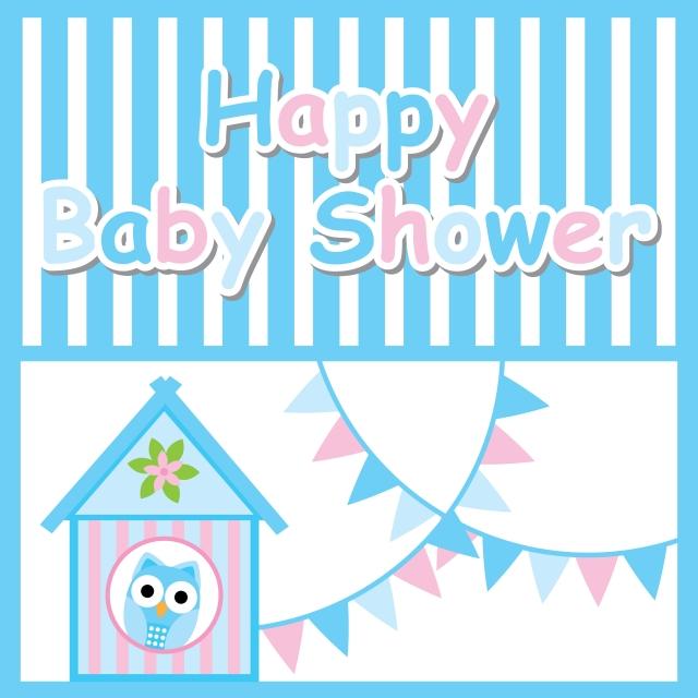 Cute Owl Bird House And Colorful Flag Cartoon Illustration