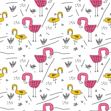 Modèle De L été Avec Flamingo Mignon Dessin Scandinave Fond