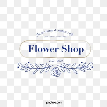 simple style chic blue metal border linear print floral decoration florist logo, Simple, Vector, Line PNG and Vector