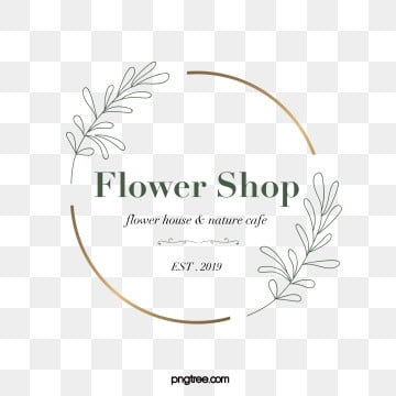 simple style chic green metal border linear print floral decoration florist logo, Simple, Vector, Line PNG and PSD