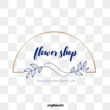 simple wind golden border line drawing flower shop logo, Vector, Spray, Linear Flower PNG and Vector