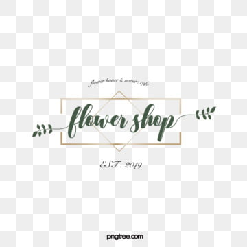 simple wind green metal border floral decorative florist logo, Simple, Vector, Florist PNG and Vector