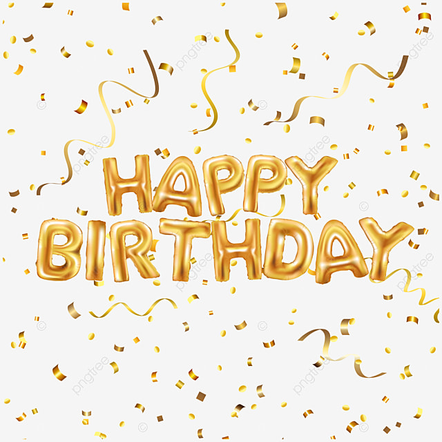 happy birthday gold confetti with golden font decoration Art Font