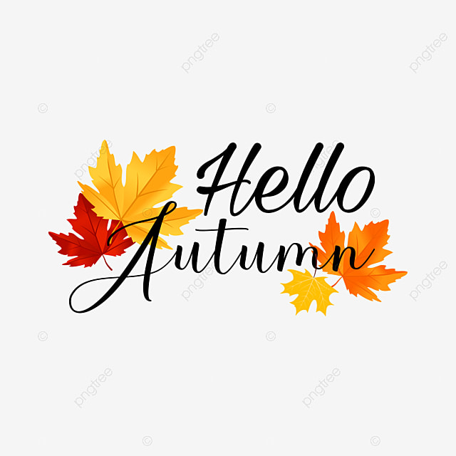 Christmas Lettering Badge On White Background: Hello Autumn Leaves Label Badge Text Effect AI For Free