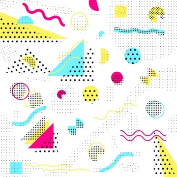 Memphis Pattern 80s90s Styles On White Background Vector