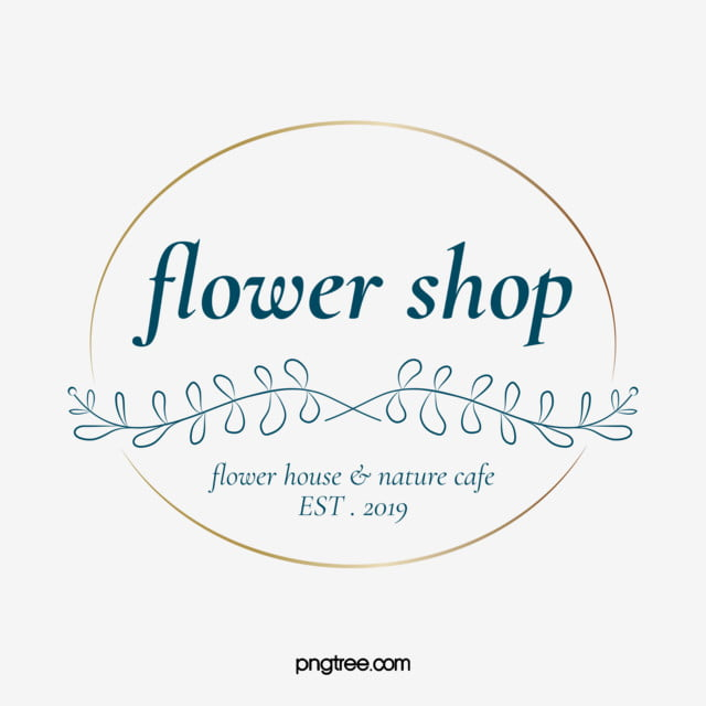 Simple Flower Shop Leaves Branches Gold Foil Round Border