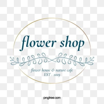 simple flower shop leaves branches gold foil round border logo, Florist, Leaf, Branch PNG and Vector