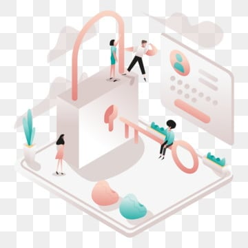 access and security illustration concept  isometric design concept of web page design for website and mobile website vector illustration, Isometric, Coworking, Space PNG and Vector