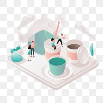 free tea and coffee illustration concept  isometric design concept of web page design for website and mobile website vector illustration, Isometric, Coworking, Space PNG and Vector