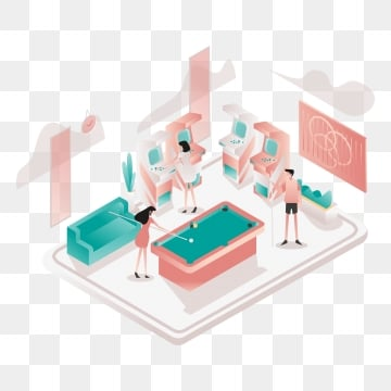 game zone room illustration concept  isometric design concept of web page design for website and mobile website vector illustration, Isometric, Coworking, Space PNG and Vector