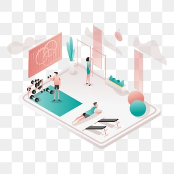 gym room illustration concept  isometric design concept of web page design for website and mobile website vector illustration, Isometric, Coworking, Space PNG and Vector