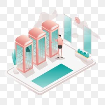 phone booth illustration concept  isometric design concept of web page design for website and mobile website vector illustration, Isometric, Coworking, Space PNG and Vector