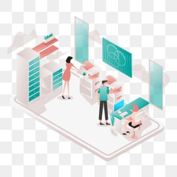 printing service illustration concept  isometric design concept of web page design for website and mobile website vector illustration, Isometric, Coworking, Space PNG and Vector