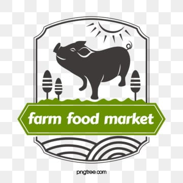 farm supermarket pork linear label, Farm, Supermarket, Pork PNG and Vector