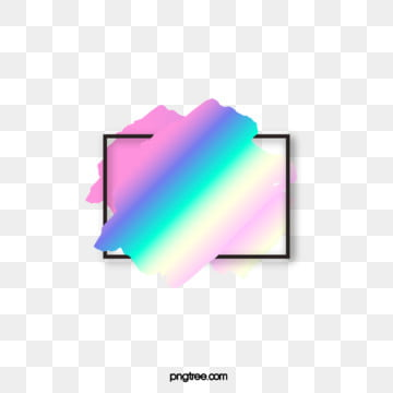 holographic rainbow brush black text border, Holographic, Rectangle, Rainbow PNG and Vector