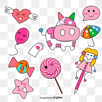pink girl cartoon sticker, Cartoon, Lovely, Pink PNG and Vector