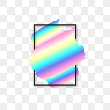 rectangular holographic rainbow brush black text border, Rectangle, Holographic, Rainbow PNG and Vector
