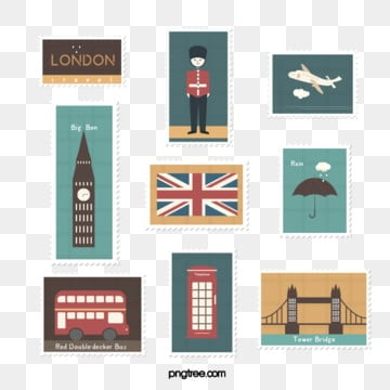 brown yellow hand drawn vintage british travel stamp sticker illustration element, Vintage, Travel, Stamp PNG and PSD