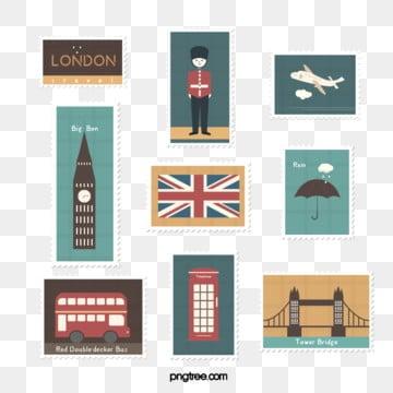 brown yellow hand drawn vintage british travel stamp sticker illustration element, Vintage, Travel, Stamp PNG and PSD