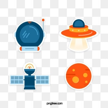 flat illustration wind cosmic element sticker, Creative Sticker, Astronaut, Ufo PNG and Vector
