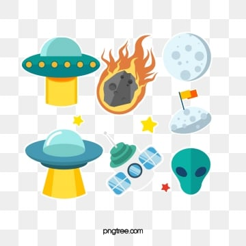 spaceship alien creative hand painted stickers, Universe, Airship, Alien PNG and PSD