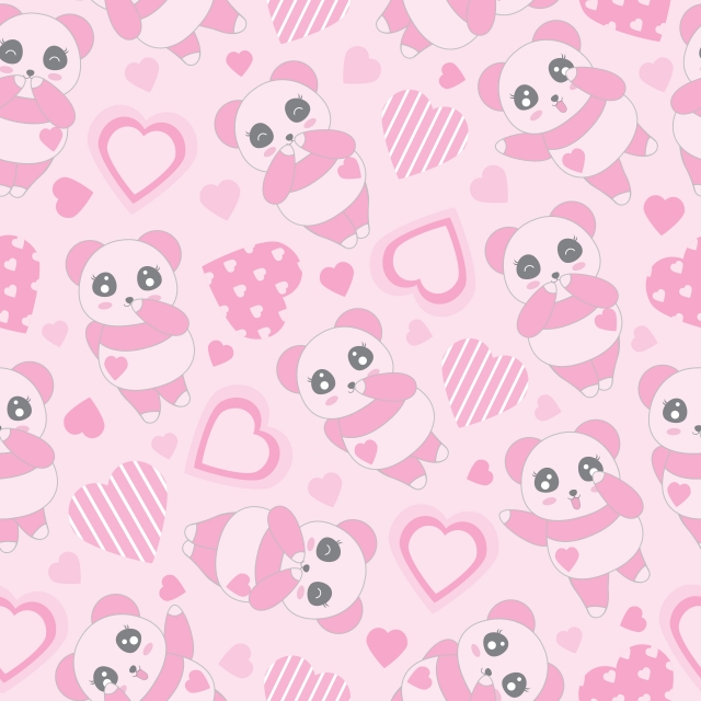 Valentine Seamless Background Of Cute Pink Panda And Love