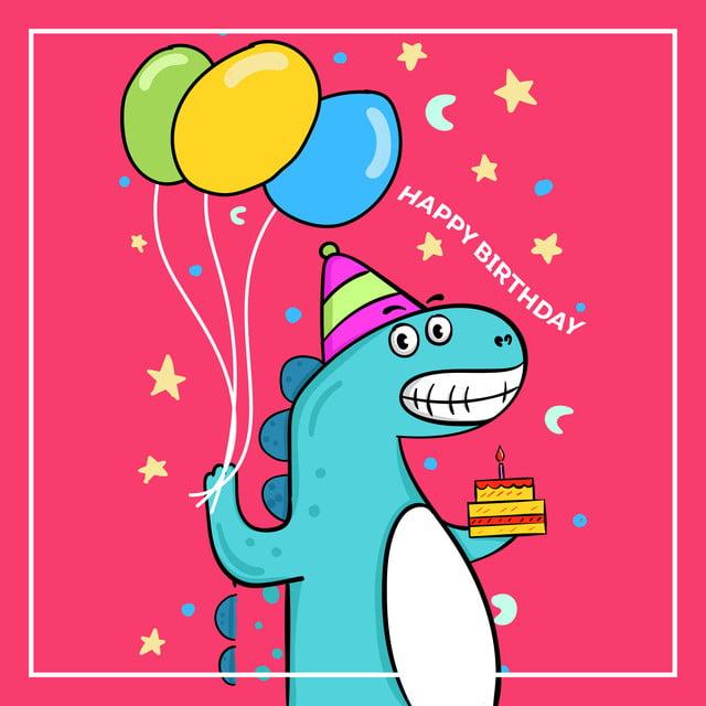Картинка с днем рождения с динозавром