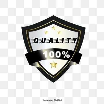 black gold gradient badge sticker, Quality, Power, Stars PNG and Vector