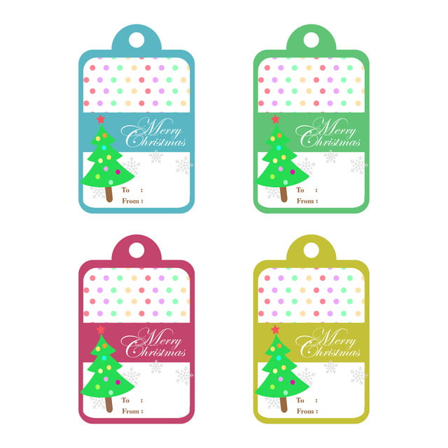 Christmas Gift Tag Png.Merry Christmas Text And Xmas Tree On Colorful Background