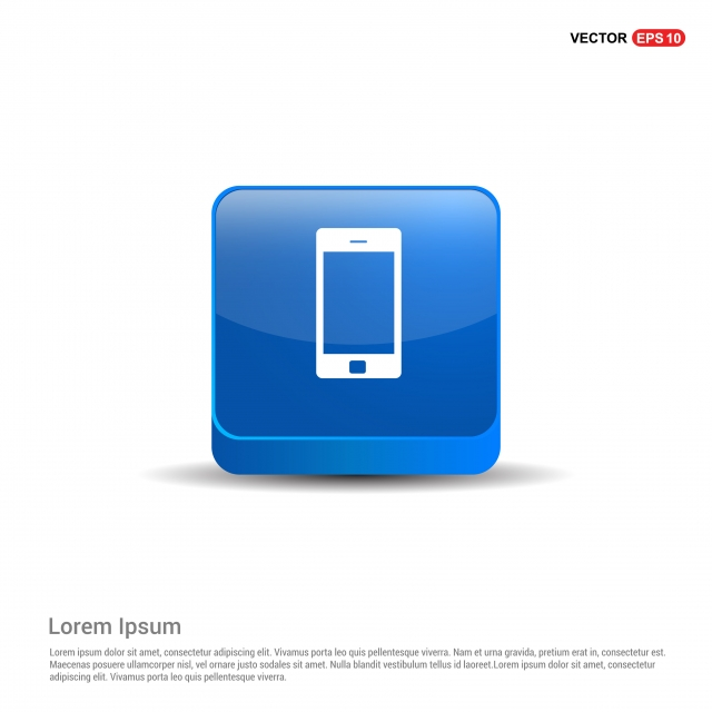 Mobile Phone Icon 3d Blue Button, Background, Business