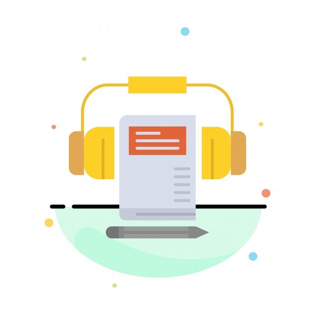 Musique Casque Audio Livre Abstrait Plat Couleur Icone