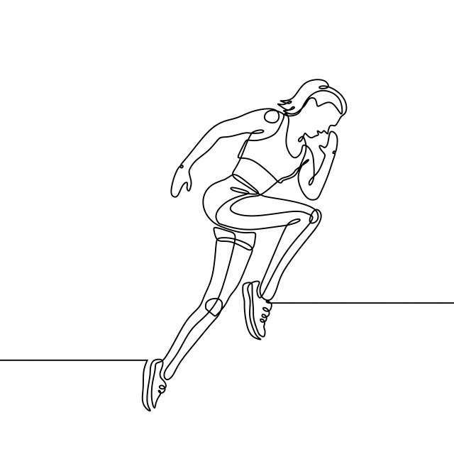 Continuous Line Drawing Of Running Girl With Concept Of