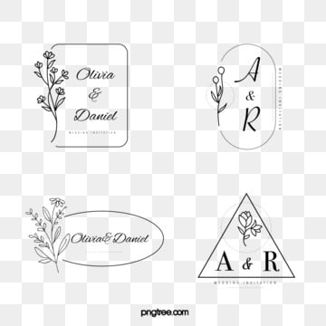 black linear bouquet wedding newcomer name tag, Famous Brand, Bride And Groom, Spouse PNG and Vector