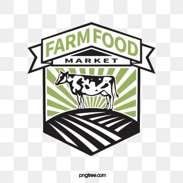 two color linear farm supermarket label, Black, Green, Cow PNG and Vector