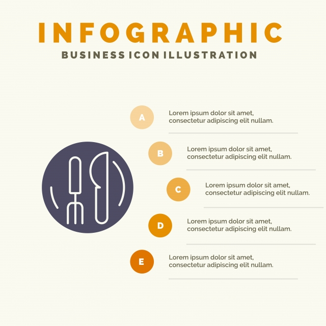 Hotel Service Knife Plate Infographics Presentation Template