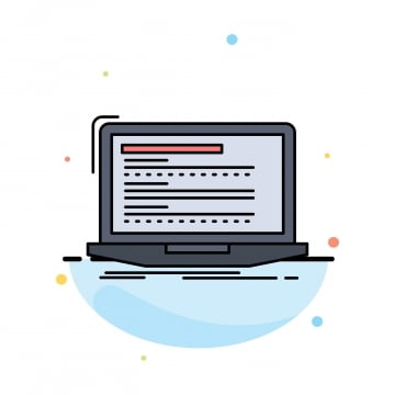 code coding computer monoblock laptop flat color icon vector, App, Application, Background PNG and Vector