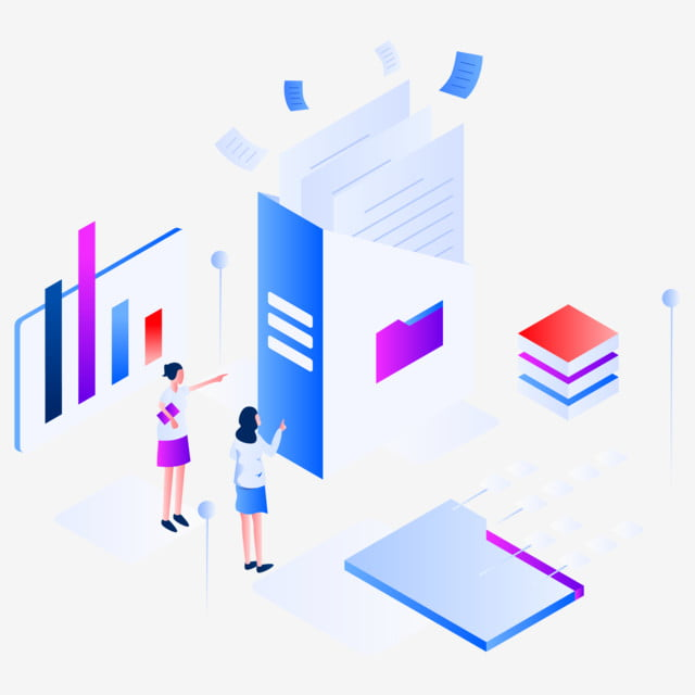 Documents And Data Isometric Illustration Concept Modern