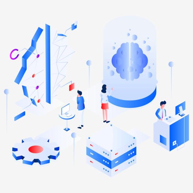 Machine Learning Isometric Illustration Concept Modern Flat