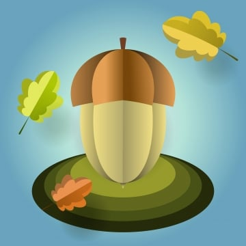 vector acorn of paper with falling leaves, Origami, Acorn, Oak PNG and Vector