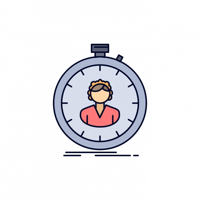 Fast Speed Stopwatch Timer Girl Flat Color Icon Vector