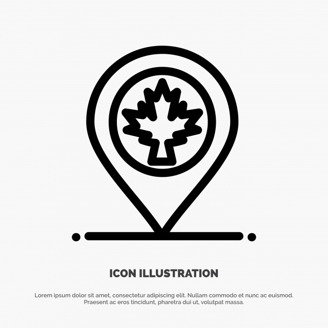 Map Location Canada Leaf Line Icon Vector Background Blue
