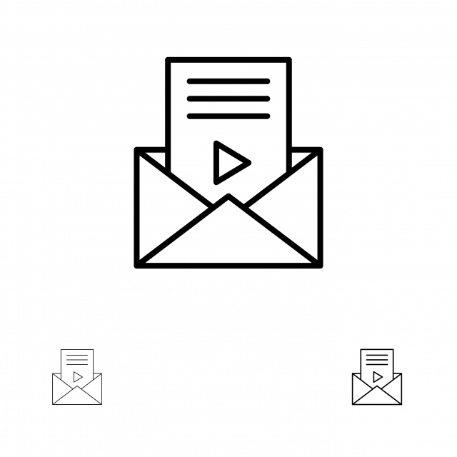 Mail Message Sms Video Player Bold And Thin Black Line Icon