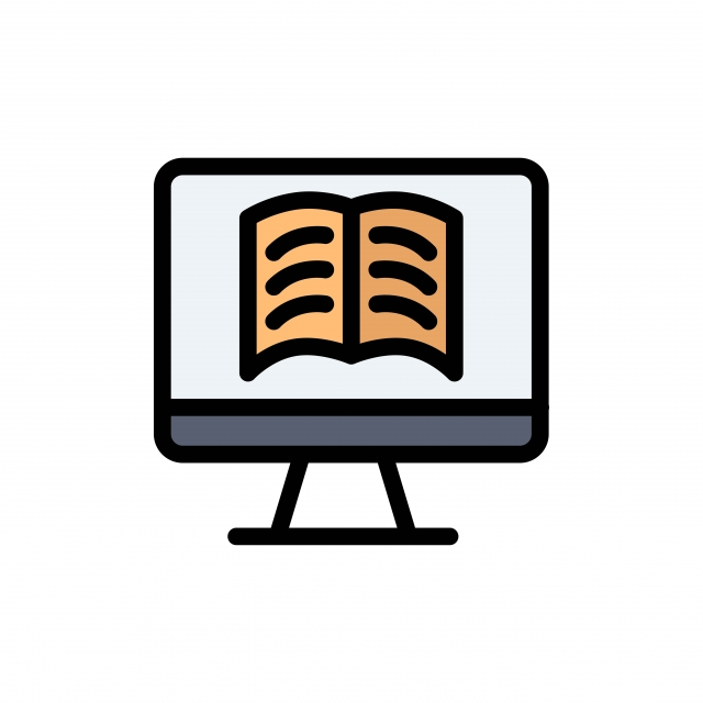Livre D Ordinateur Sur La Technologie Plate Couleur Icone