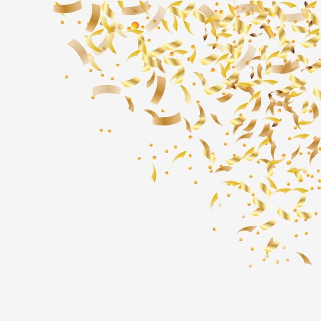 Christmas Tinsel Transparent Background.Falling Shiny Golden Confetti Isolated On Transparent