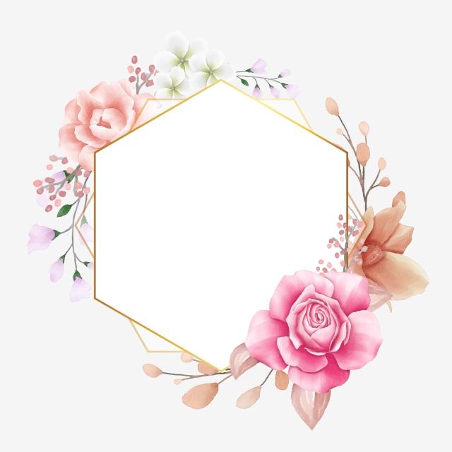 floral geometric frame for wedding invitation composition