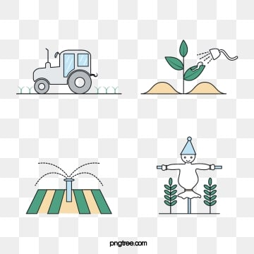 farm linear color icons, Tractor, Deworming, Irrigation PNG and Vector