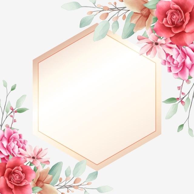 Elegant Floral Border Decorative With Golden Geometric ...