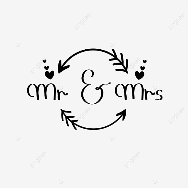 Mr And Mrs Hand Drawn Font Wedding Invitation Card Text